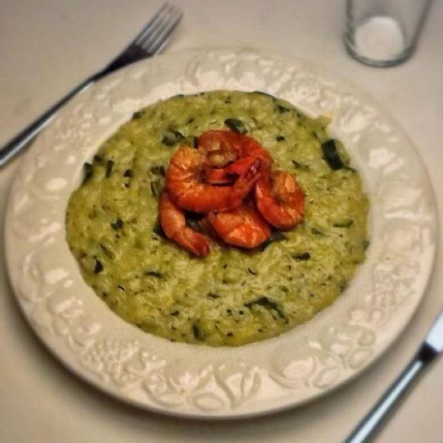 Zucchini Risotto con Gamberi