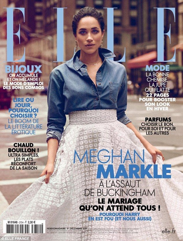 Newly engaged Meghan Markle is the picture of elegance as she poses on the cover of ELLE F...