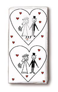 zakdoekjes met hart en bruid en bruidegom, trouwdecoratie en trouwgeschenk.