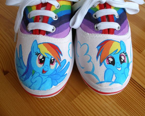 Hand painted Children My Little Pony shoes, Rainbow Dash Any size, color, character and design on Etsy, $39.79