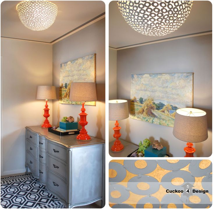 DIY flush mount ceiling fixture from a metal bowl - cover up that ugly boob light!