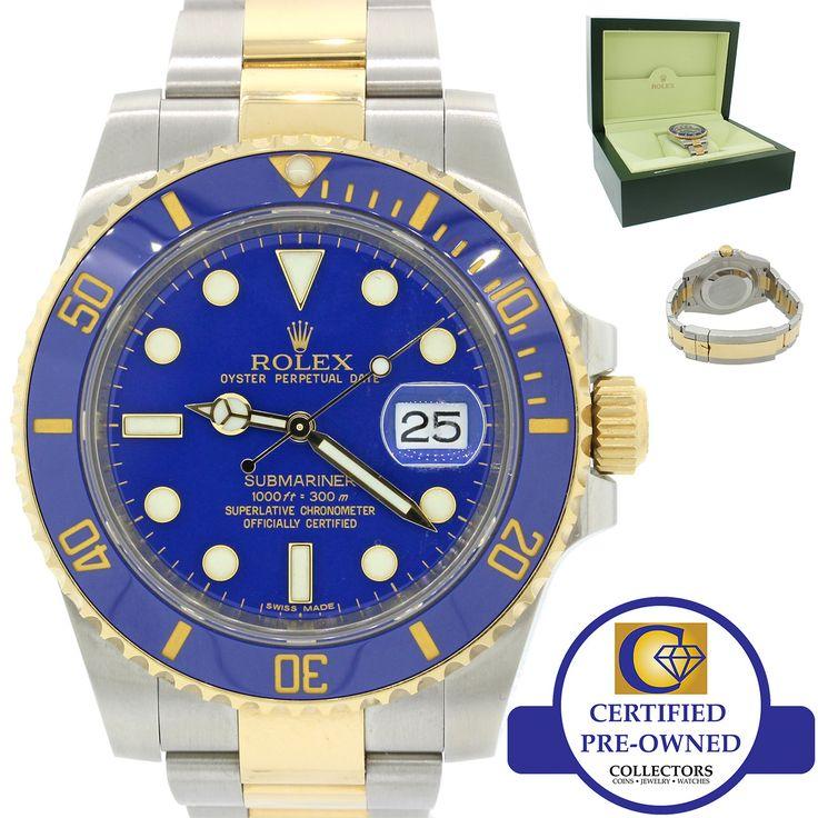 MINT 2010 Rolex Submariner Blue Ceramic Sunburst 116613 Two Tone Gold Watch wBox