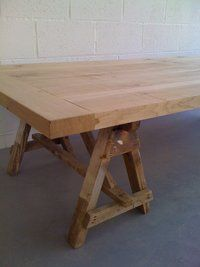 Coffee Table With Low Trestles. I Love This Pair Of Well Used Trestles.