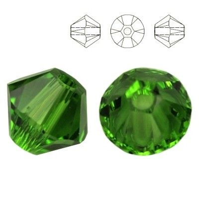 5328 Bicone 4mm Fern Green 10 pieces  Dimensions: 4,0mm Colour: Fern Green 1 package = 10 pieces