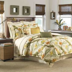 Tropical and soothing, this 4-piece comforter set will bring a bit of paradise into your home. The set includes one comforter, two shams and a coordinating bedskirt. The sateen cotton shams and comforter feature a tropical birds of paradise design.