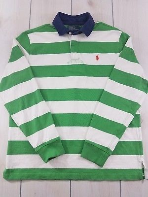 048f61b28 POLO RALPH LAUREN Rugby Shirt Green   White Striped Long Sleeve Mens Large  B65
