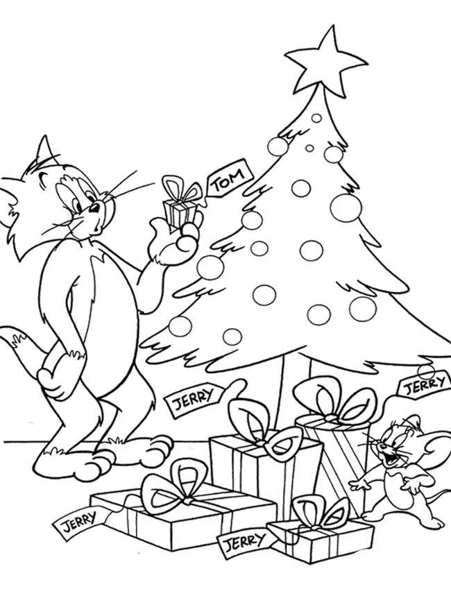 tom and jerry christmas coloring page
