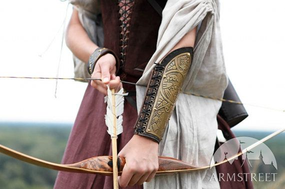 Womens Archery Bracer Arm Guard etched brass armor lightweight leather and metal Archeress. I need this.