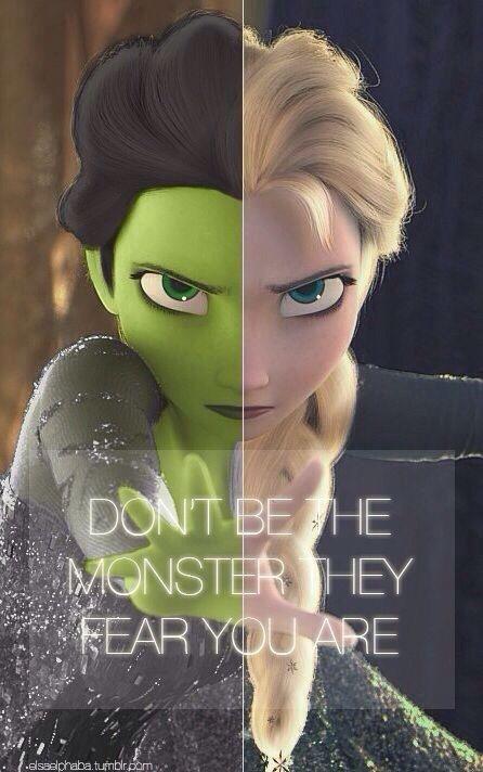 Elphaba/Elsa. I get it Idena Menzel played elphiba on broadway and voiced Ilysia in frozen !