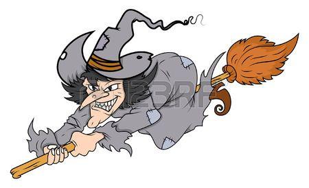 dibujos animados de brujas volando en su escoba ilustraci n vectorial de halloween Foto de archivo