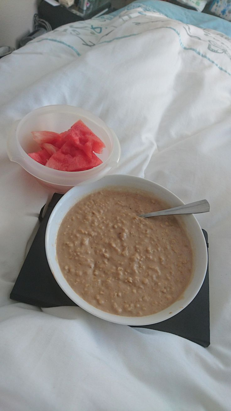 Salted caramel macadamia nut butter infused protein oats with a side of watermelon.
