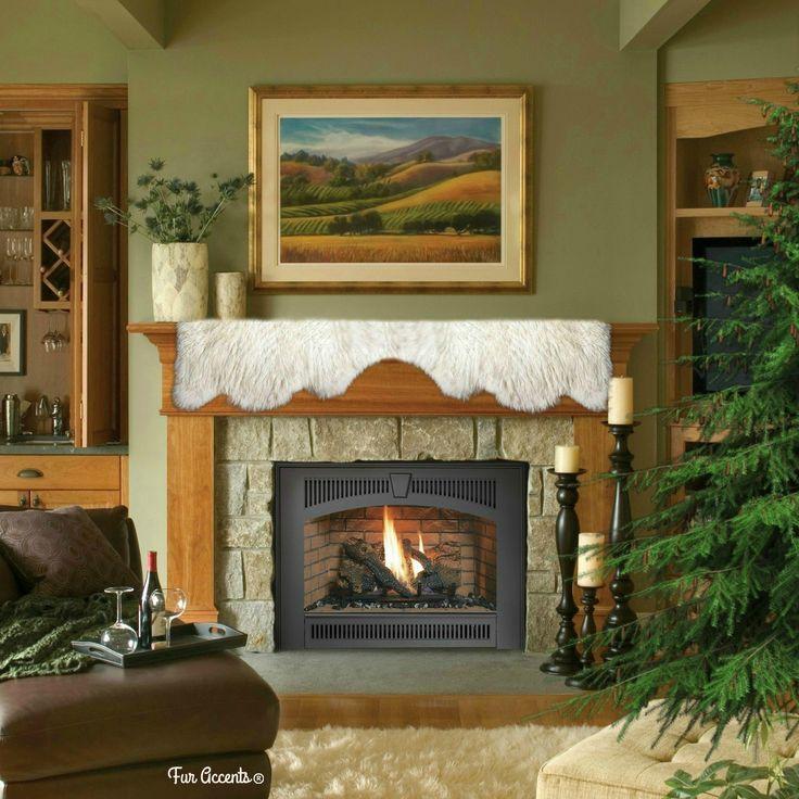 Classic faux fur fireplace mantle scarf shaggy faux snow