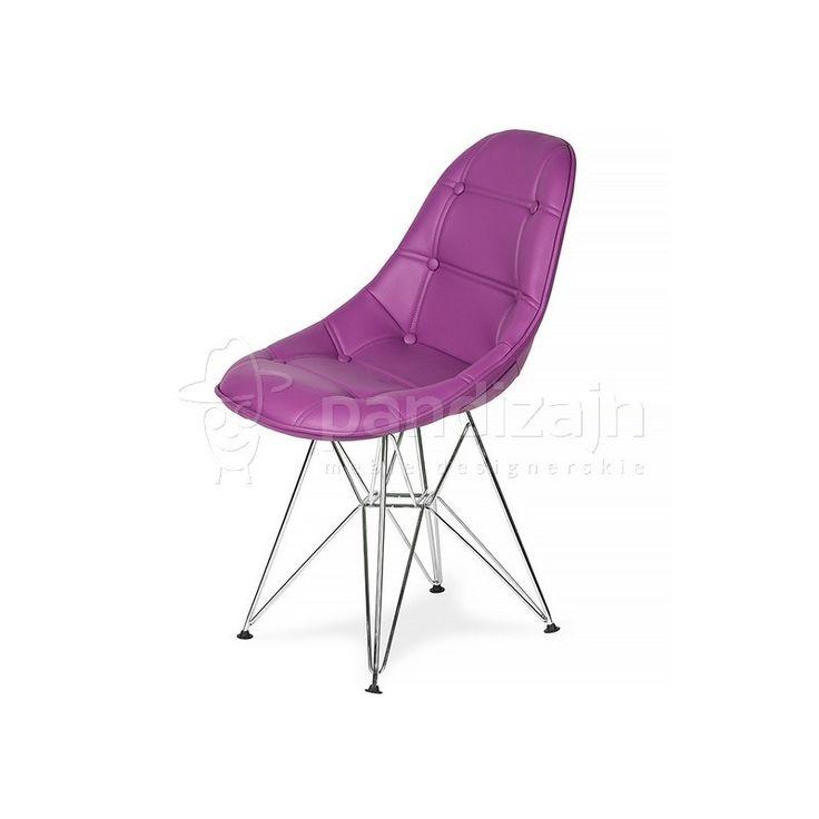 Krzesło DSR Ekoskóra - Fioletowa purpura, nogi metalowe. - Pandizajn.pl - Meble i oświetlenie designerskie.