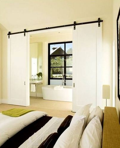 from bed to bath master suite-Sliding track doors