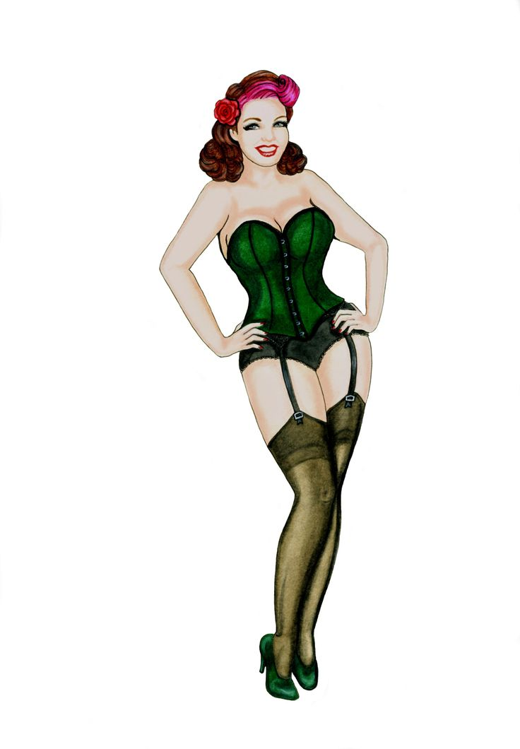 Character logo created for Burlesque performer and seamstress, Emerald Fire