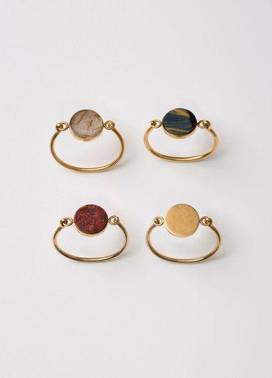 bagues simple anneau or dorée pierre ronde rond cercle