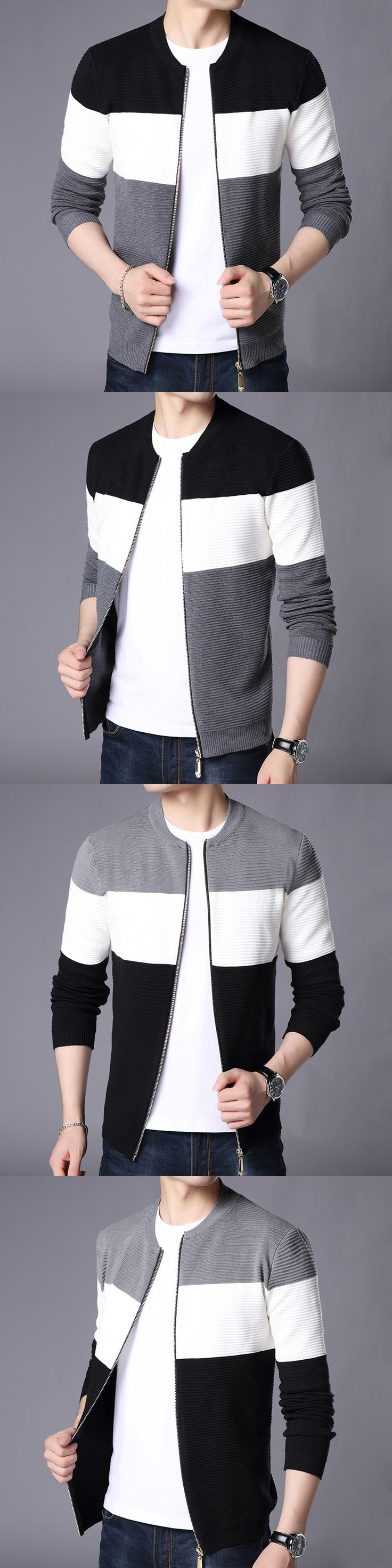 New Autumn Winter Knitted Cardigan Men Casual Wear Fashion Black White Grey Patch Work Sweater Zipper Cardigan Male