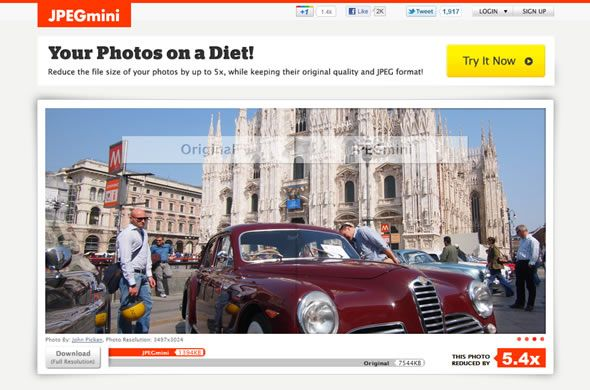 JPEGmini - Your Photos on a Diet. Reduces file size by up to 5x