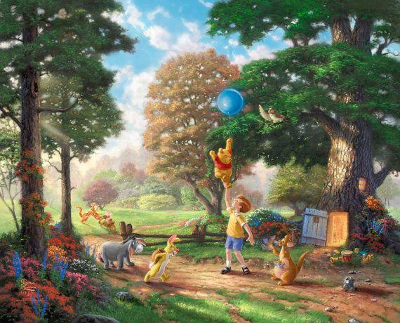 Disney Oil Paintings Thomas Kinkade ( Winnie The Pooh II )  Giclee Art Print On Canvas 16X20 inch no frame 36,95€