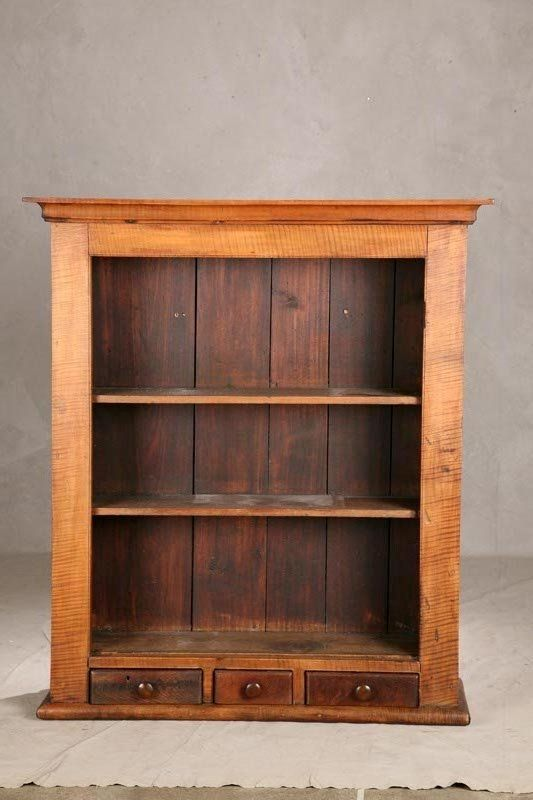 Open Hanging Cupboard, Curly Maple With Three Small Drawers And Three  Shelves, 46 H