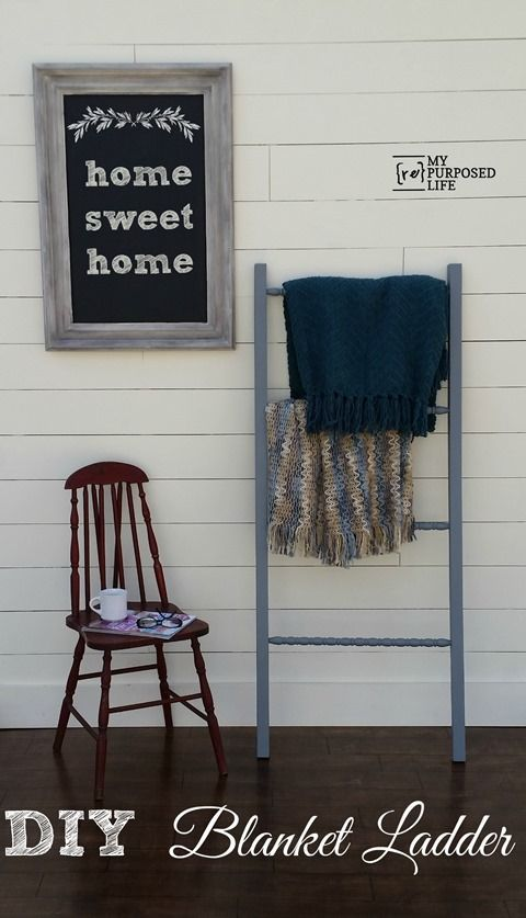 how to make a diy blanket ladder out of scrap wood and crib spindles. Lots of great tips!