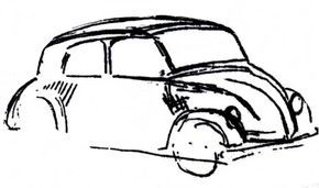 Adolf Hitler, the future leader of Germany, sketched the drawing you see above in the summer of 1932, while enjoying a hot lunch in a Munich restaurant. The former artist, while contemplating ways to set Germany on a modern course, was inspired by his admiration for American auto-maker (and anti-Semite) Henry Ford to formulate an ingenious plan: To reduce unemployment, a massive program of public works would build the worlds first super-highway, the Autobahn.