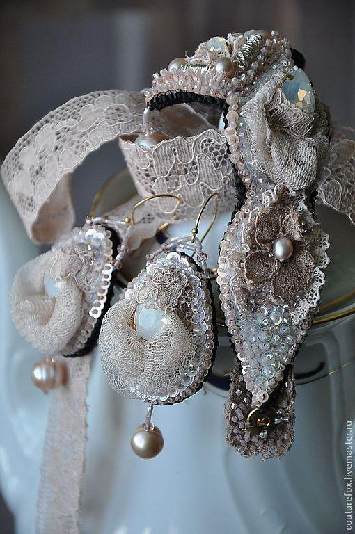 """Купить Комплект """"Мария Антуанетта"""" - кремовый, мария антуанетта, нежность, нежное украшение, ручная вышивка"""