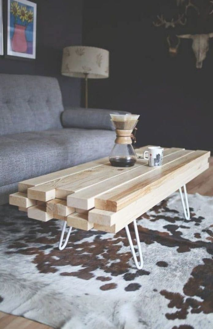 2x4 Coffee Table Made From 2x4 Wood With Hairpin Legs Cheap Coffee Table Coffee Table Alternatives Wooden Coffee Table
