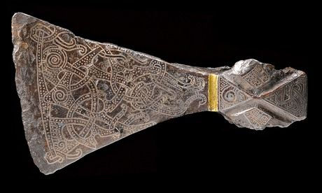 Silver inlaid axehead in the Mammen style, (900). From Bjerringhoj, Denmark. Photograph: The National Museum of Denmark