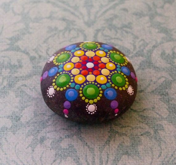 Jewel Drop Mandala Painted Stone Rainbow dreams by ElspethMcLean