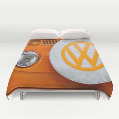 Volkswagen Orange Duvet Cover by Alice Gosling