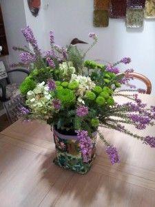 cache pot canevas bouquet