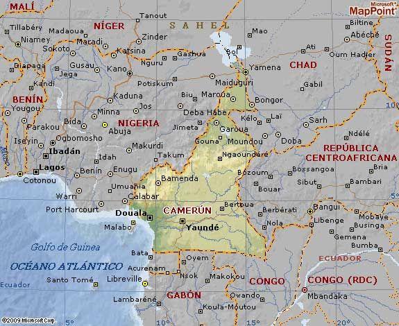 Mapa Geográfico da República dos Camarões