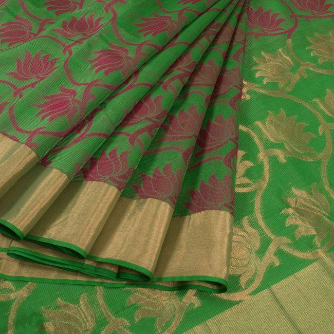 Buy online Hand Block Printed Green Kota Silk Saree With Zari Border & Lotus Motifs 10013707