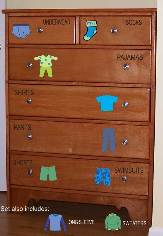 Dresser Clothing Decals Labels Boys room by WallapaloozaDecals