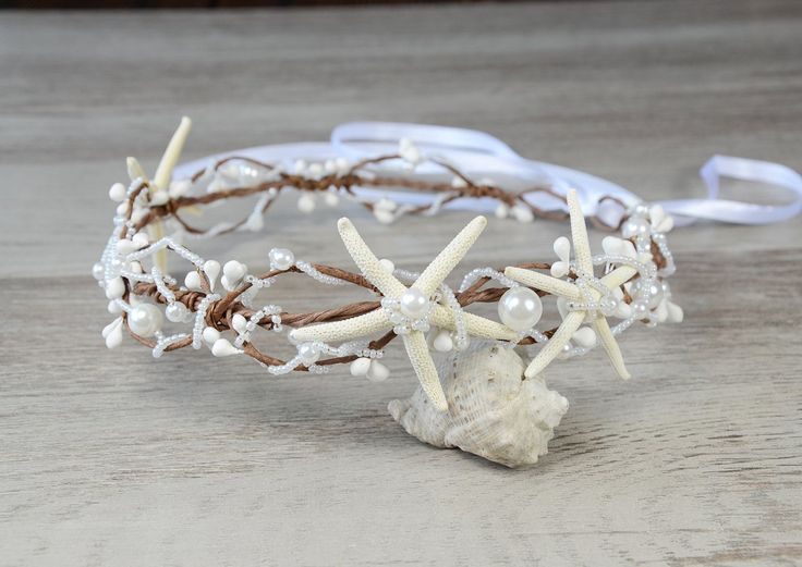 Beach Wedding Starfish Beads Wired Hair Crown, Nautical Wedding Headpiece, Destination Wedding Headband Starfish tiara rustic Ariel bohemian by PrettyNatali on Etsy