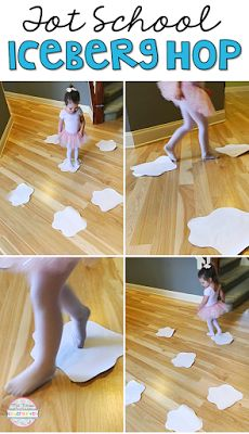 Practice different ways of moving with this iceberg hop gross motor activity. Perfect for a penguin theme in tot school, preschool, or kindergarten.
