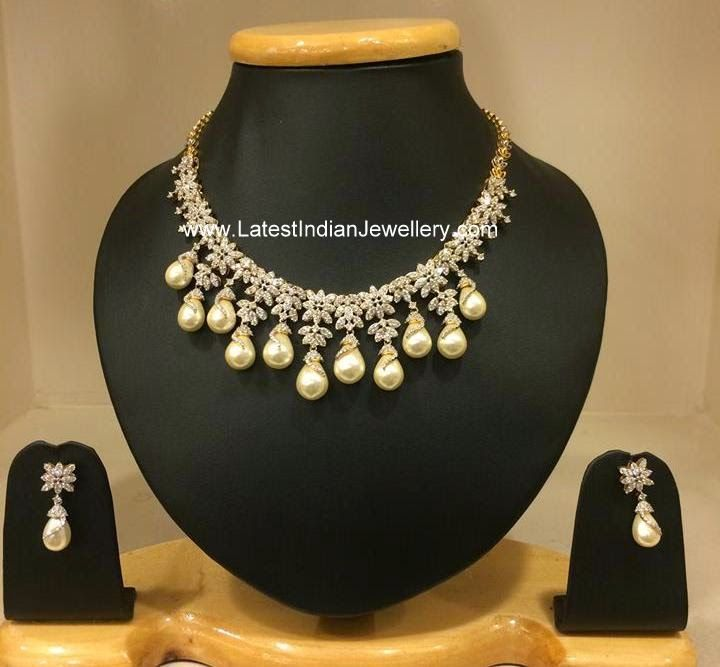 Pearl drops Indian diamond necklace