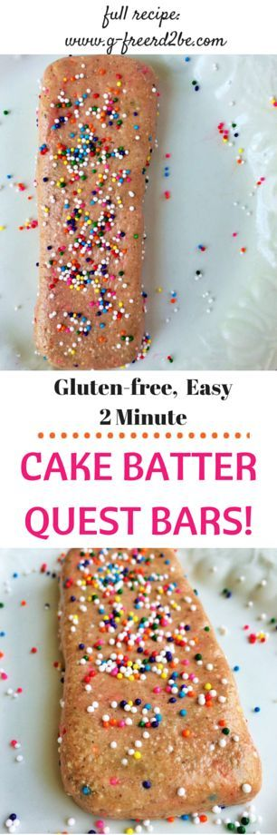 BIRTHDAY CAKE BATTER Quest Protein Bars...the easiest homemade recipe! Full of fiber and protein, low in sugar, fat, and carbs. Each bar is only 200 calories! || www.g-freerd2be.com