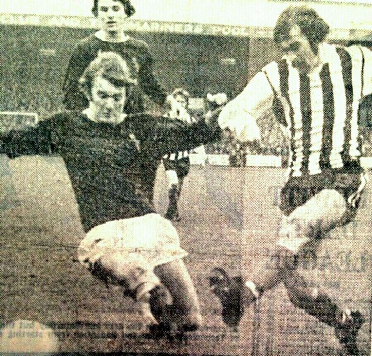 Grimsby Town 0 Burnley 2 in Jan 1974 at Blundall Park. Leighton James and Jack Lewis go in for the ball in the FA Cup 3rd Round.