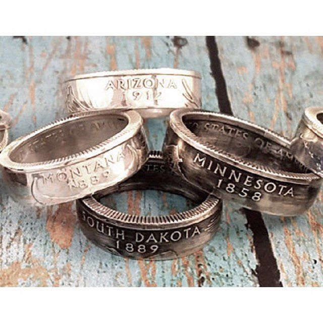 These state quarter rings are made by @midnightjo. This shop creates unique jewelry by re-purposing every day items primarily coins and spoons. Check it out in their Etsy shop or www.MidnightJo.com  Etsy Shop: MidnightJo Instagram: @midnightjo  #etsy #etsyshop #etsyseller #handmade  #handcrafted #crafter #craft #crafts #artsandcrafts #local  #i #diy #happy #smile #jewelry #unique #ring #uniquejewelry #jewellery #state #homestate #hometown #quarter #statequarter #statequarters #coincollection…