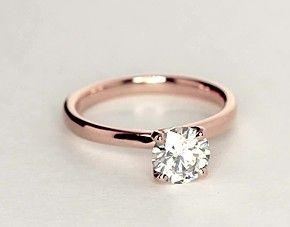 Monique Lhuillier Amour Solitaire Engagement Ring in 18k Rose Gold | Blue Nile