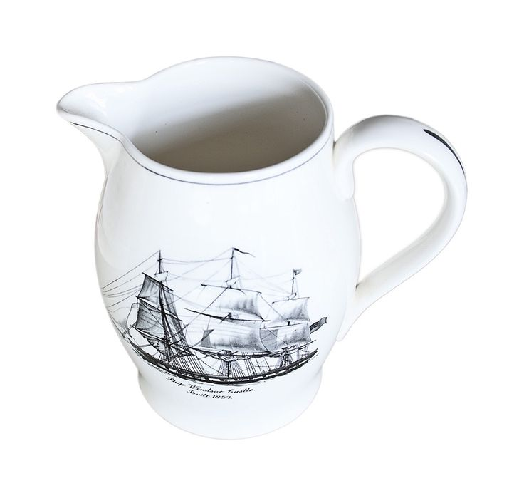 Buy English Spode Transferware Pitcher by Maxine Snider Inc. - Limited Edition designer Accessories from Dering Hall's collection of Traditional Tabletop.