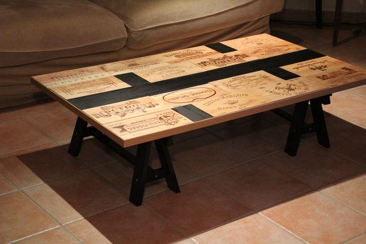 Création d'une table basse sympa avec façade de caisse à vin et bande noir en…