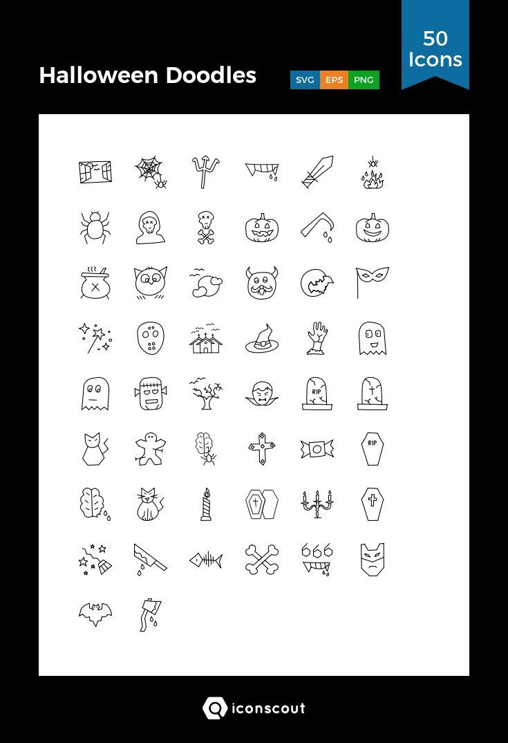 Halloween Doodles  Icon Pack - 50 Line Icons