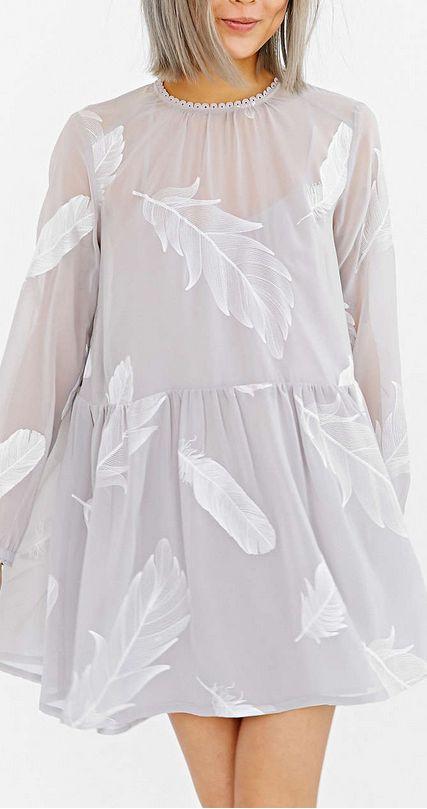 feather print swing dress
