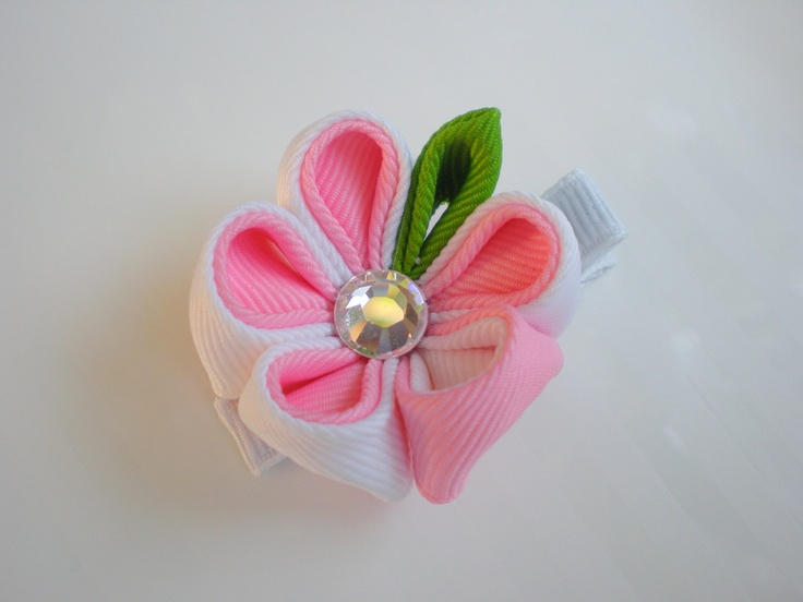 Pink and White Teacup Kanzashi Flower Hair Clip by CCsChicBowtique, $9.00  #hairbow #girls #Etsy #hairclips #flower #kanzashi