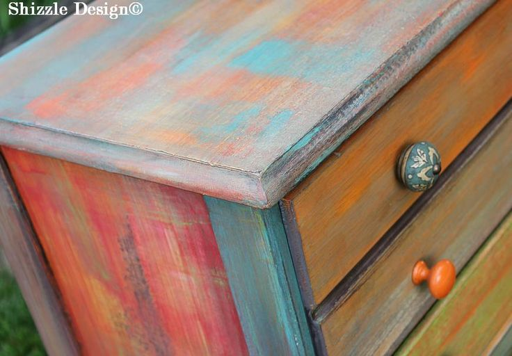 West Michigan ~ Colorful, bright and cheery petite patchwork dresser hand painted by Shizzle Design using chalk/clay paints.  Learn HOW!!  http://shizzle-design.com/2013/07/whimsical-patchwork-painted-dresser-with-apcs-antiquing-wax.html