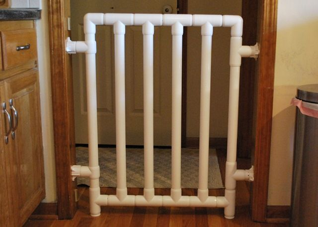 How to build a Safe and Strong Baby Gate. It just uses PVC components. I bet you can adjust the plan to fit any size opening
