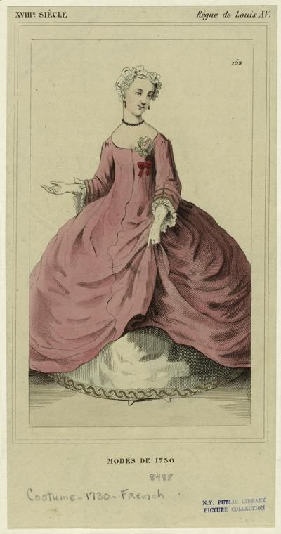 Modes De 1730, New York Public Library. Not a maternity dress. She is still wearing stays.